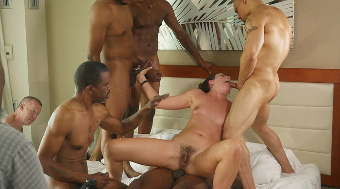 Interracial Cuckold Gangbang